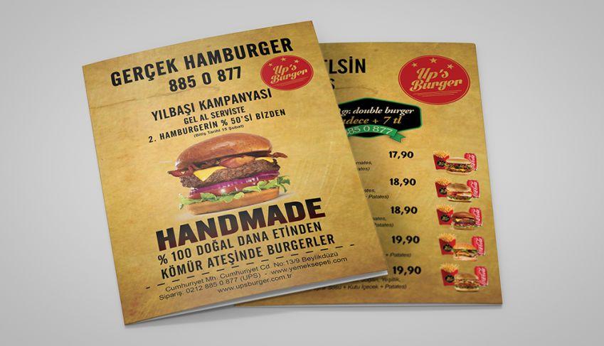 Up's Burger Broşür Tasarımı